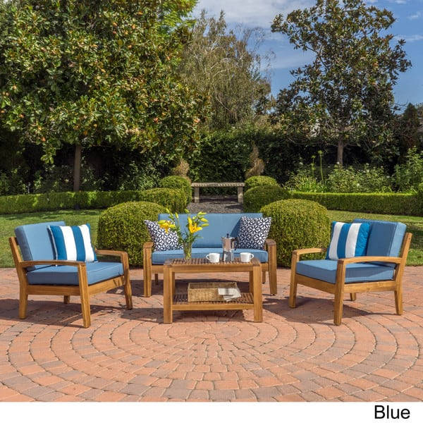 Astonishing Shop Grenada 4 Piece Outdoor Wood Chat Set With Cushions By Spiritservingveterans Wood Chair Design Ideas Spiritservingveteransorg