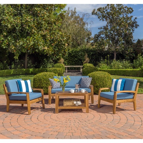 Grenada 4-Piece Outdoor Wood Chat Set w/ Cushions by Christopher Knight Home