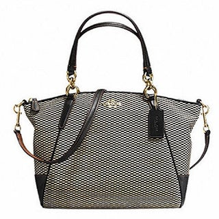 Coach Small Kelsey Exploded Reps Print Grey Jacquard and Gold Metal Satchel