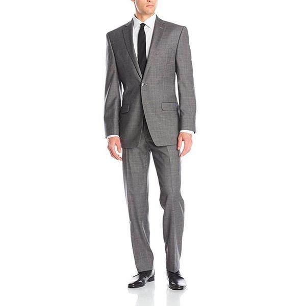 Shop Calvin Klein Men\'s Xfit Two-Piece Grey Wool Slim-Fit Suit ...