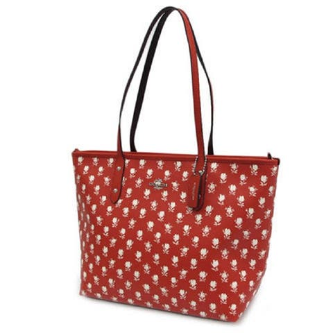 93f3d43a2f4c Coach Badlands Floral City Red and White Zip Tote