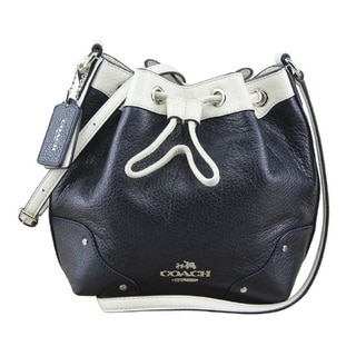 Coach Spectator Midnight Navy and Chalk White Leather Drawstring Bucket Shoulder Bag
