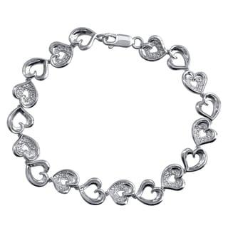 Sterling Silver Diamond Accent Heart Linked Bracelet
