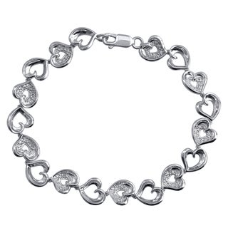 Sterling Silver 1/10CTtw Heart Linked Bracelet