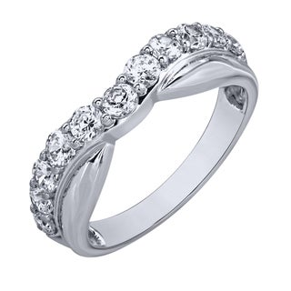 10k White Gold 1 1/10ct TDW Diamond Contour Band (H-I, I1-I2)