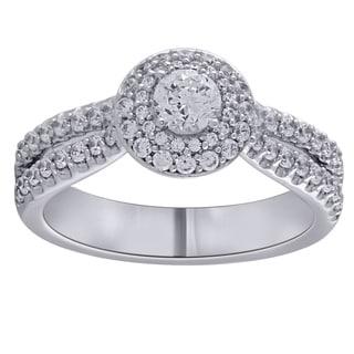 14k White Gold 1ct TDW Diamond Stand Alone Double Halo Bridal Engagement Ring (I-J, I1-I2)