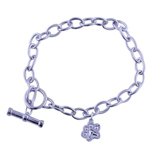 Tender Voices Sterling Silver Diamond Accent Paw Fashion Bracelet