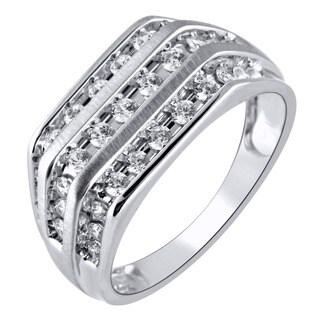 14k White Gold 1CTtw Men's Diamond Triple Row Right Hand Ring