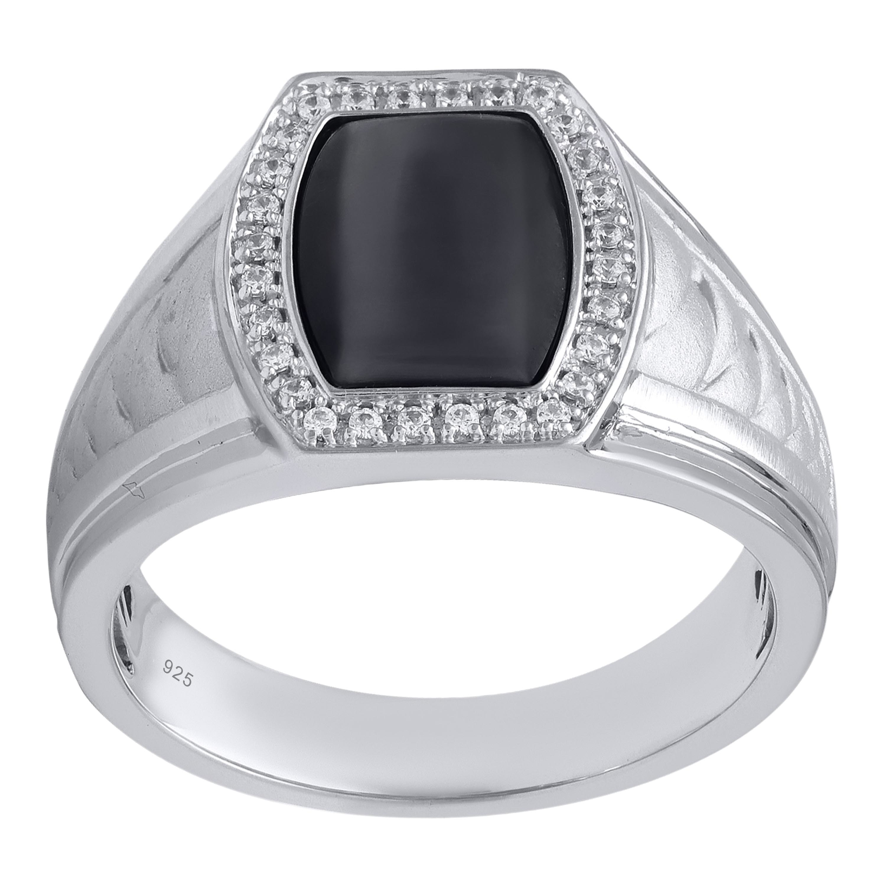Bridal Symphony Sterling Silver and Black Onyx DAD Ring w...