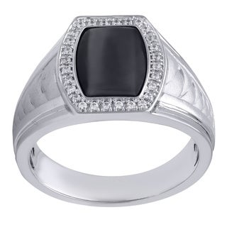 Sterling Silver 1/6ct TDW Diamond and Black Onyx Barrel-shaped Ring (I-J, I2-I3)