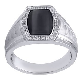 Sterling Silver and Black Onyx DAD Ring with 29 1/6CTtw Diamonds