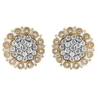 10k Yellow and White Gold 1CTtw Diamond Stud Earring