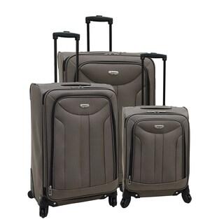 Samboro Luggage Envoy Taupe 3-piece Expandable Spinner Luggage Set
