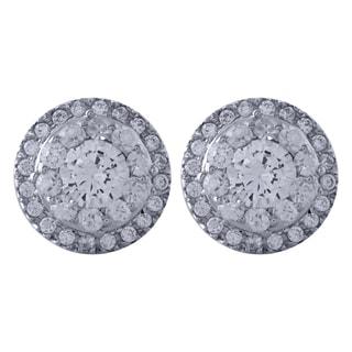 14k White Gold 1 1/10ct TDW Diamond Earrings (H-I, I1-I2)