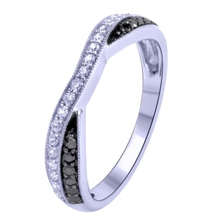 14k White Gold 1/3CTtw Diamond Wrap Ring (Black, H-I, I1-I2)