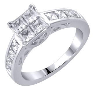 14k White Gold 2.04CTtw Diamond Engagement Ring (White, I1-I2)