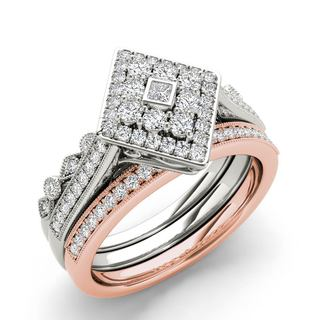 De Couer 10k White and Rose Gold 1/2 ct TDW Diamond Halo Engagement Ring Set