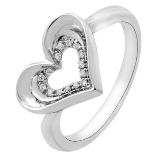 Sterling Silver Diamond Accent Heart Fashion Ring