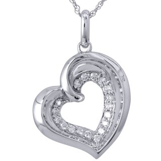 10k White Gold 1/5ct TDW Heart Diamond Pendant (I-J, I2-I3)
