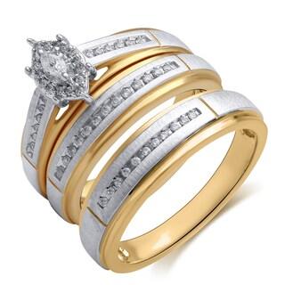 14k White Gold 1/5ct TDW Diamond Halo Engagement Ring and Wedding Band Set (H-I, I1-I2)