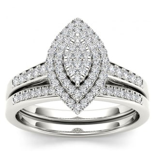 De Couer 14k White Gold 1/3ct TDW Diamond Marquise Shape Halo Engagement Ring Set - White H-I