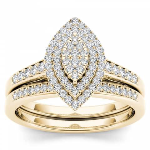 De Couer IGI Certified 14k Yellow Gold 1/3ct TDW Diamond Marquise Shape Halo Engagement Ring Set