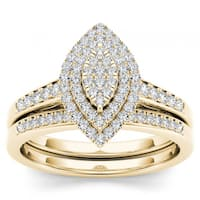 De Couer 14k Yellow Gold 1/3ct TDW Diamond Marquise Shape Halo Engagement Ring Set