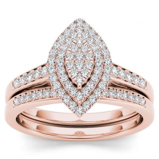 De Couer 14k Rose Gold 1/3ct TDW Diamond Marquise Shape Halo Engagement Ring Set