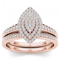 De Couer  IGI Certified 14k Rose Gold 1/3ct TDW Diamond Marquise Shape Halo Engagement Ring Set - Pink