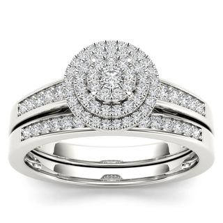 De Couer 14k White Gold 1/3ct TDW Diamond Cluster Halo Bridal Set (H-I, I2)