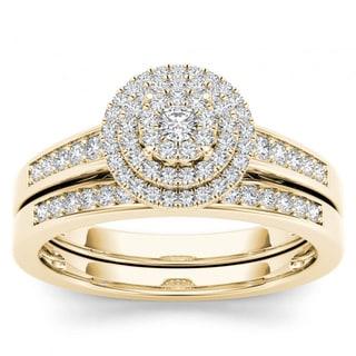 De Couer 14k Yellow Gold 1/3ct TDW Diamond Cluster Halo Bridal Set (H-I,I2)