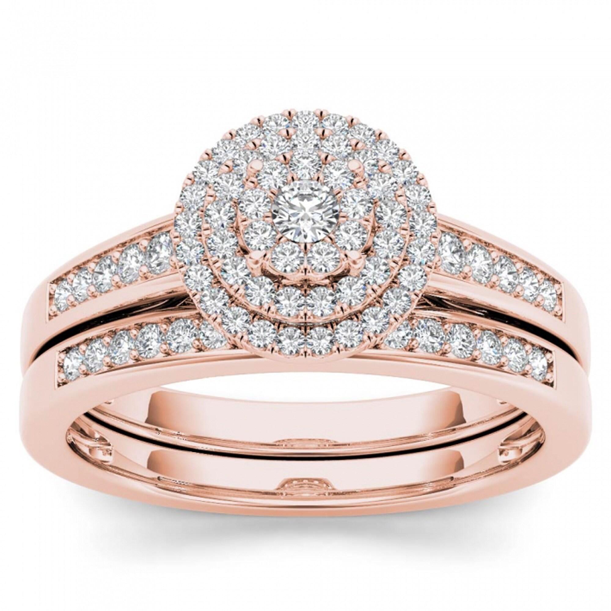 De Couer 14k Rose Gold 1/3ct TDW Diamond Cluster Halo Bridal