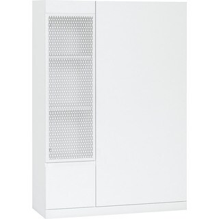 Voelkel Muto Collection White Metal Wood Storage Cabinet