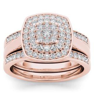 De Couer 14K Rose Gold 1/3ct TDW Diamond Cluster Halo Ring (H-I, I2)