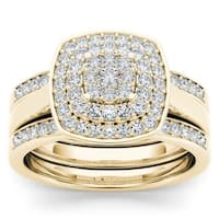 De Couer 14K Yellow Gold 1/3ct TDW Diamond Cluster Halo Ring