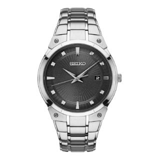 Seiko Men's SNE429 Stainless Steel and Diamond Solar Watch with a Date Window