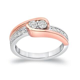 Auriya 14k Two-Tone Gold 1/2ct TDW Round 2-Stone Diamond Engagement Ring