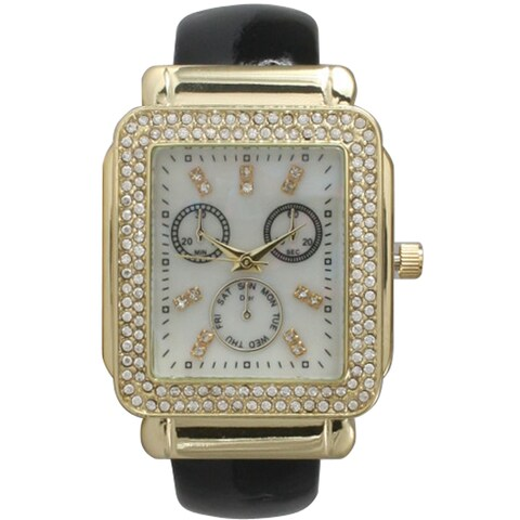 Olivia Pratt Women's Leather Rhinestone-accent Rectangular Bezel Cuff Watch