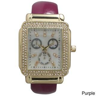 Olivia Pratt Women's Leather Rhinestone-accent Rectangular Bezel Cuff Watch (Option: Purple)