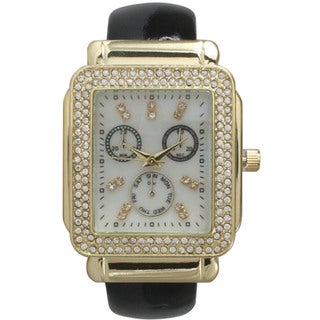Olivia Pratt Women's Leather Rhinestone-accent Rectangular Bezel Cuff Watch