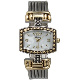Olivia Pratt Women's Two-tone Rectangular Faux Mother-of-pearl Bangle Watch