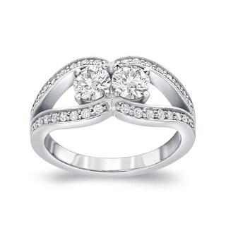 Auriya 14k Gold 1/2ct TDW 2-Stone Round Cut Diamond Engagement Ring (J-K, I1-I2)