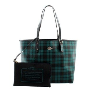 Coach Riley Navy and Teal Canvas Plaid Reversible City Tote Bag