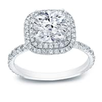 Auriya 18k Gold 3ct TDW Certified Cushion-Cut Diamond Halo Engagement Ring