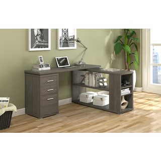 Naomi White/Taupe MDF L-shaped 3-drawer Writing Desk