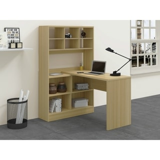 Zuri White/Taupe MDF Computer Desk with Storage