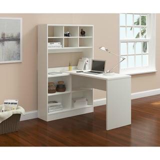 Zuri White/Taupe MDF Computer Desk with Storage