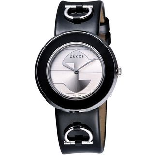 Gucci Women's YA129401 'U-Play' Black Leather Watch
