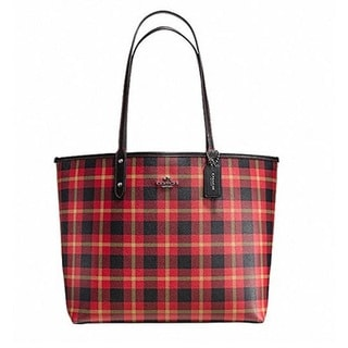 Coach 55447 Riley Red/Black Plaid Reverisble City Tote Bag