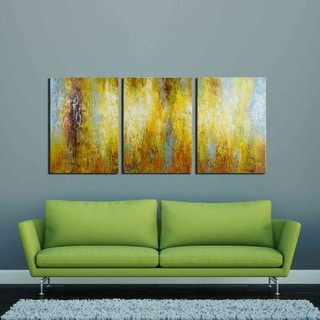 'Cleanse the Mind' Hand-painted 3-piece Gallery-wrapped Canvas Art Set
